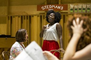"Tesia Kwarteng sings ""Dancing all the time"" during the dress rehearsal for the Music Theater Revue on Tuesday, July 26, 2016, in Lenna Hall. Photo by: Mike Clark"