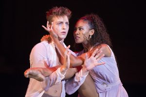 """Ben Ingel and Raven Barkley dance in the movement """"Dirty Truth and Pretty Lies"""" at the Charlotte Ballet's performance An Evening of Pas de Deux on Wednesday, July 27, 2016, in the Amphitheater. Photo by: Mike Clark"""