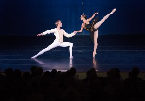 "James Kopecky and Alessandra Ball James dance in the movement ""Black Swan"" at the Charlotte Ballet's performance An Evening of Pas de Deux on Wednesday, July 27, 2016, in the Amphitheater. Photo by: Mike Clark"