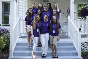 Members of the 2016 Class of the Chautauqua Scholarship Program (CHQScholars) pose on the steps of Florence Hall. The CHQScholars program, a four-week program for Christians ages 19-25 hosted by the International Order of the King's Daughters and Sons, involves American students as well as international students from countries including Bulgaria, Lebanon, and Hungary.  Top row, left to right: Molly Vest, Kayla Naron, Eva Moris Amro, Hannah Jones.   Middle row, left to right: Pamela El Ghreichi, Evelin Dobsa, Adel Assal, Allison Griffith.  Bottom row, left to right: Alexandra Nagy, Laura Holland, Elizabeth Waters.  Photo by Carolyn Brown.