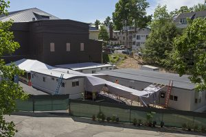 The back of the Amphitheater as seen from the Athenaeum Hotel on Tuesday, June 21, 2016. The rear of the Amp has been demolished and temporary structures will be used this season before the Amp is rebuilt.