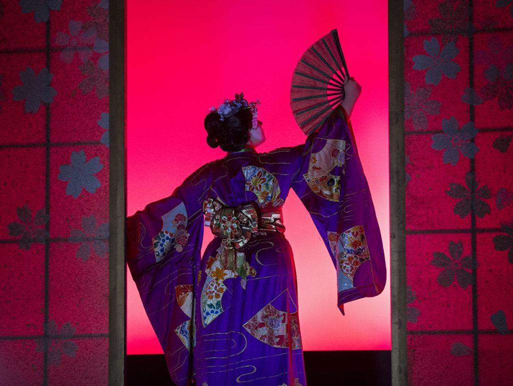 "Alyssa Sheaffer performs as a geisha in the opening scene of the dress rehearsal for ""The Mikado"" on Wednesday, July 27, 2016, in Norton Hall. Photo by: Mike Clark"
