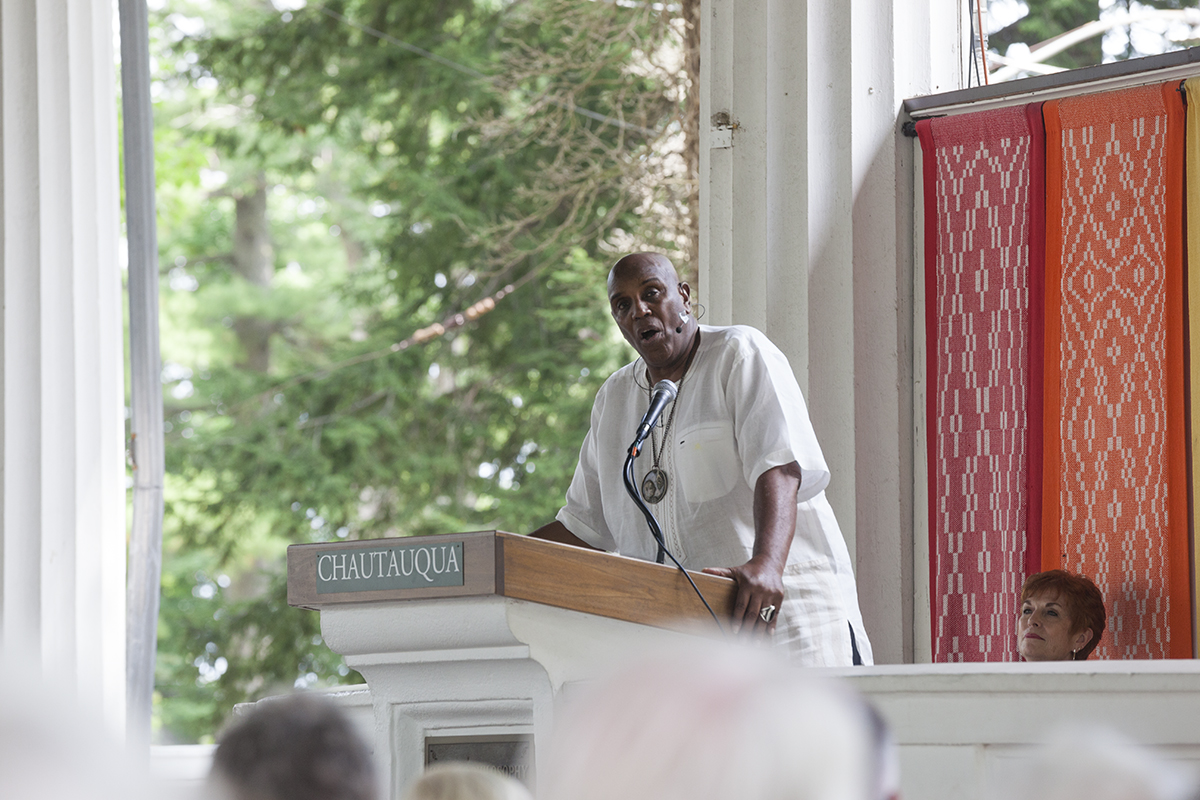 "Rev. Gerald Durley delivers his lecture ""Protecting and Serving the Planet Matters"" at 2 P.M. on Friday, July 29, 2016, at the Hall of Philosophy. Durley said that the Rev. Otis Moss, this week's Morning Worship leader, was one of his former students. Photo by Carolyn Brown.  Photo by Carolyn Brown."