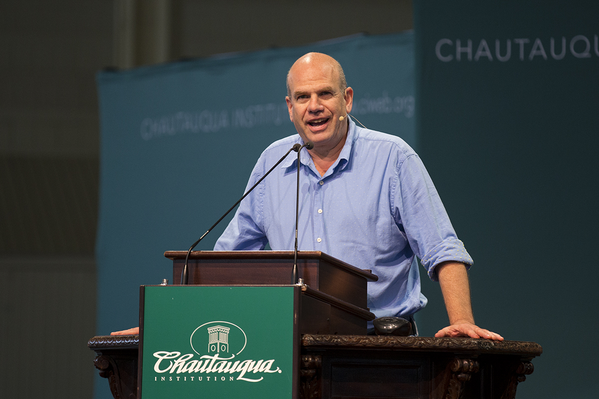 "David Simon, the creator of ""The Wire,"" discusses policing during the morning lecture Monday, Aug. 1, 2016, in the Amphitheater. Photo by: Mike Clark"