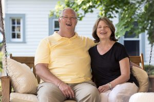 Jim and Linda Klingensmith pose for a portrait on July 29, 2016. Jim Klingensmith is a member of the Board of Trustees and a sixth-generation lifelong Chautauquan. Photo by Sarah Holm
