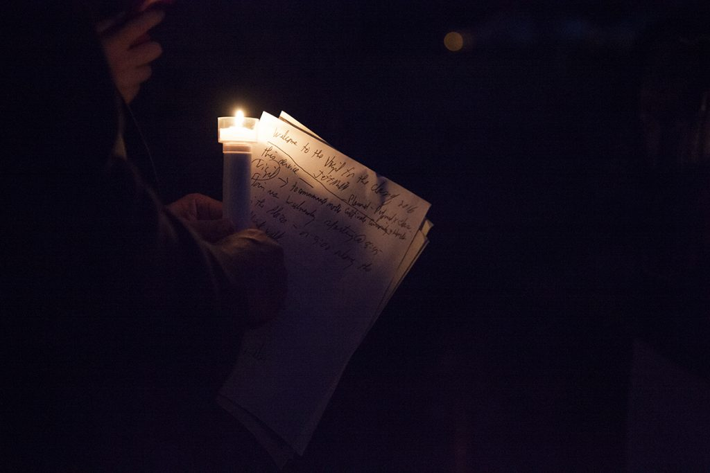 Jeff Miller, CLSC activities coordinator, holds notes for the CLSC Class of 2016 Candelight Vigil at 9 PM on Sunday, July 31, 2016, outside Alumni Hall. Miller, who will be stepping down from the position this year, has held it for the past 21 years. Photo by Carolyn Brown.