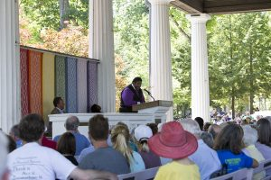 "Rev. William Barber II gives his speech presenting his call for a third reconstruction and national ""moral revival,"" August 3, 2016 in the Hall of Philosophy. Photo by Eslah Attar"