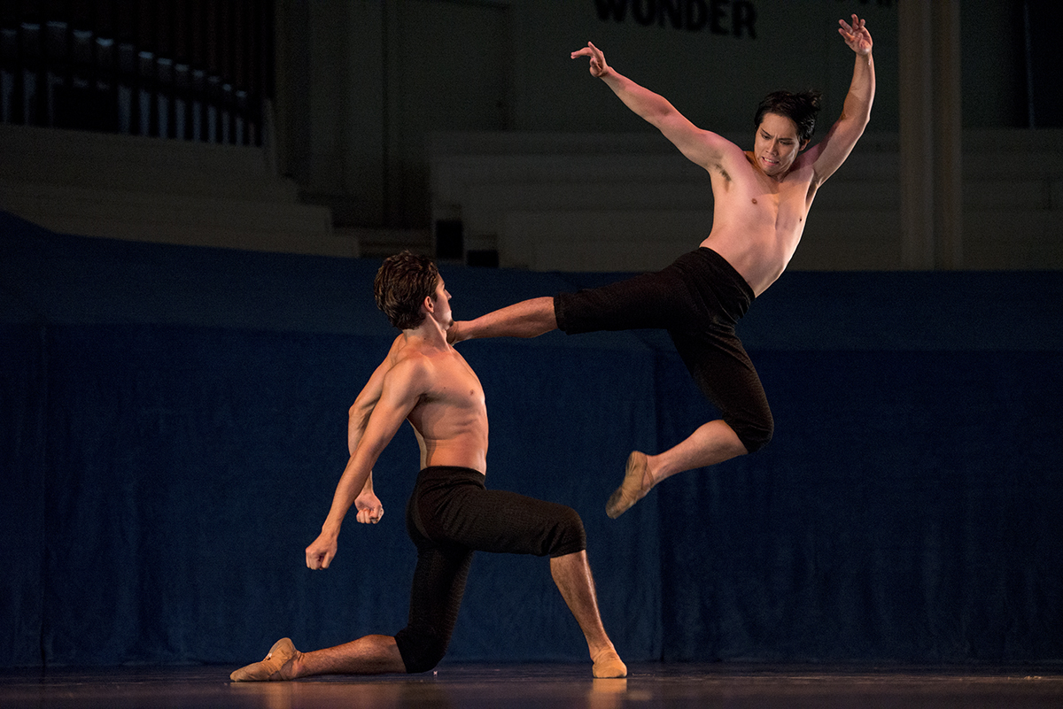 "Iago Bresciani, left, dances with Ryo Suzuki in ""Yamato"" with choreography by Mark Diamond during the Charlotte Ballet's performance, Dance Innovations, on Aug. 3, 2016 in the Amphitheater. Photo by Sarah Holm"