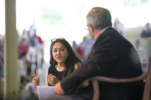 Neema Kudva delivers the morning lecture with George W. McCarthy on Thursday, Aug. 4, 2016, in the Amphitheater. Photo by: Mike Clark