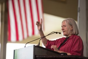 "Saskia Sassen, a professor of sociology at Columbia University, delivers her lecture ""Who Owns the City"" on Aug. 5, 2016 in the amphitheater. Photo by Sarah Holm"