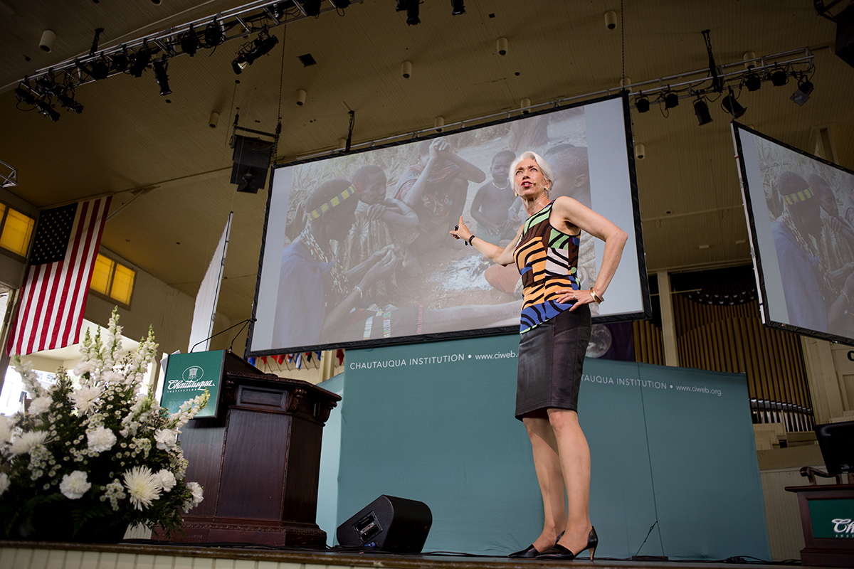 "Nina Jablonski, the Evan Pugh University Professor of Anthropology at Pennsylvania State University, gives her speech titled ""Extreme Bodies; Humanities Journey from Savanna to Sofa""  August 8, 2016 in the Amphitheater. Jablonski urged Chautauquans to get up and be active with their bodies. Photo by Eslah Attar"
