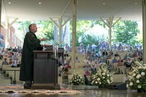"Thomas Grier Long delivers his sermon ""Telling Time"" during morning worship on Aug. 7, 2016 in the amphitheater. Photo by Sarah Holm"