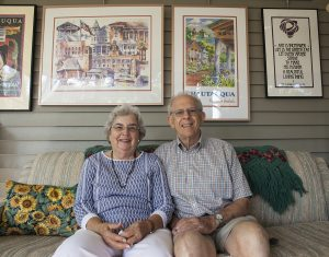 Carol and Bob Reeder pose for a portrait at 9 AM on Tuesday, August 9, 2016, in their home at 90 Harper. The Reeders have made significant contributions to the Institution and the Chautauqua community for more than two decades. Photo by Carolyn Brown.