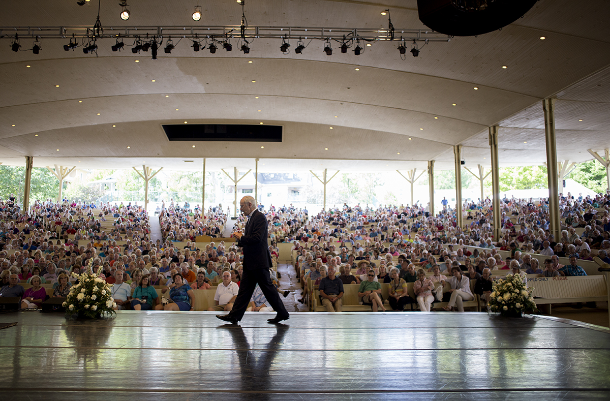 "Michael J. Sandel, professor of government at Harvard University, delivers his lecture on Justice as part of Weeks Seven theme ""Pushing Our Bodies' Limits"" August 12, 2016 in the Amphitheater. Making his 10th appearance in Chautauqua, Sandel engaged the audience in a Socratic Method discussion opening up the floor for audience members to share their thoughts and questions on the topic. Photo by Eslah Attar"