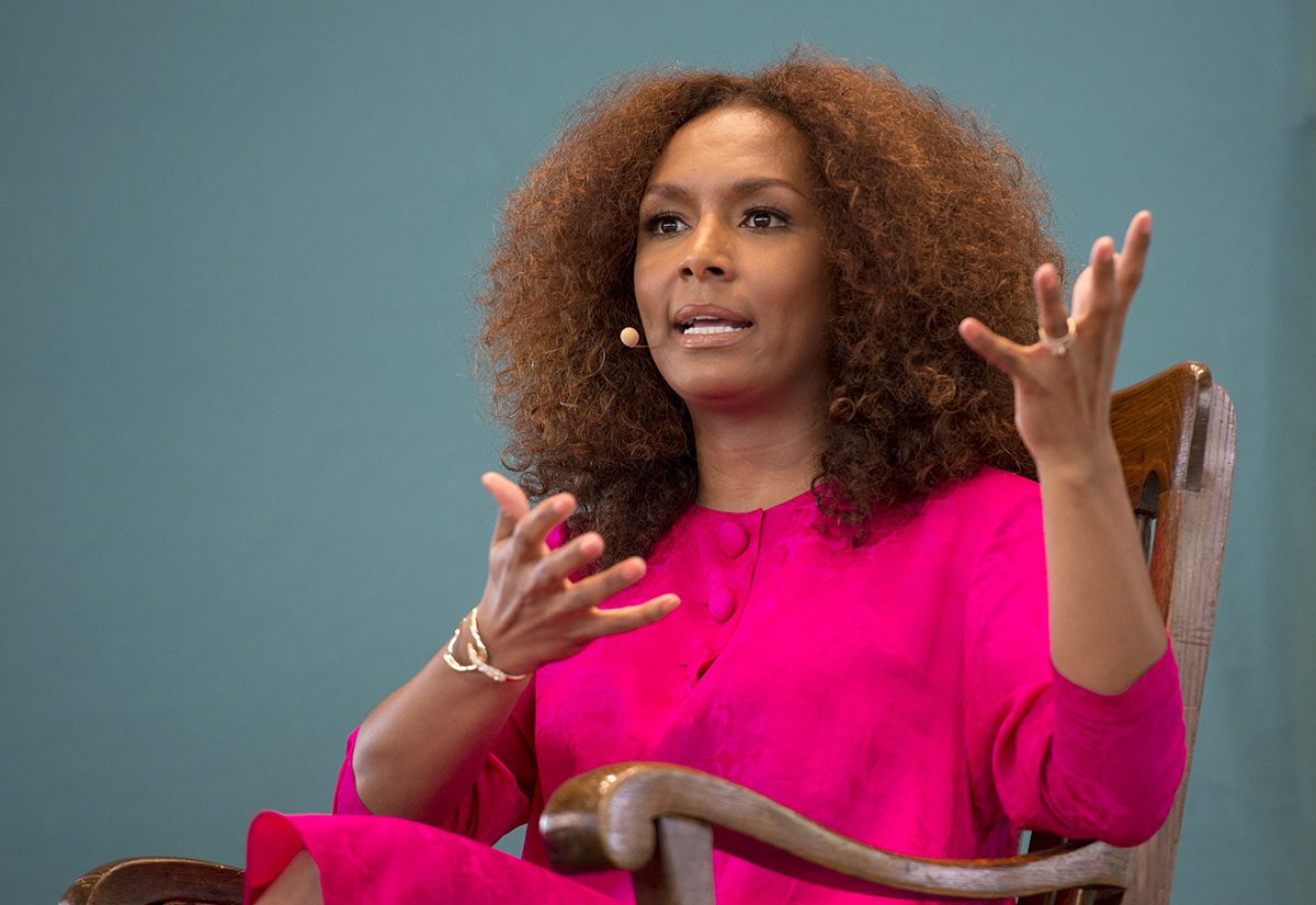 "Janet Mock, gender rights advocate and author ""Redefining Realness"" speaks with Monica Roberts about their experiences being transgender women on Aug. 11, 2016 in the Amphitheater. Photo by Sarah Holm"