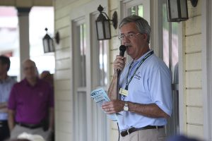 "George Murphy, vice president and chief marketing officer, presents a session of the Chautauqua Institution Trustee Porch Discussions entitled Attracting and Retaining Chautauquans"" at 1 PM on Friday, August 12, 2016, on the porch of Hultquist Center. Murphy talked about the four types of Chautauquans who usually come to the Institution, including ""Active Elders"" and young families. Photo by Carolyn Brown."