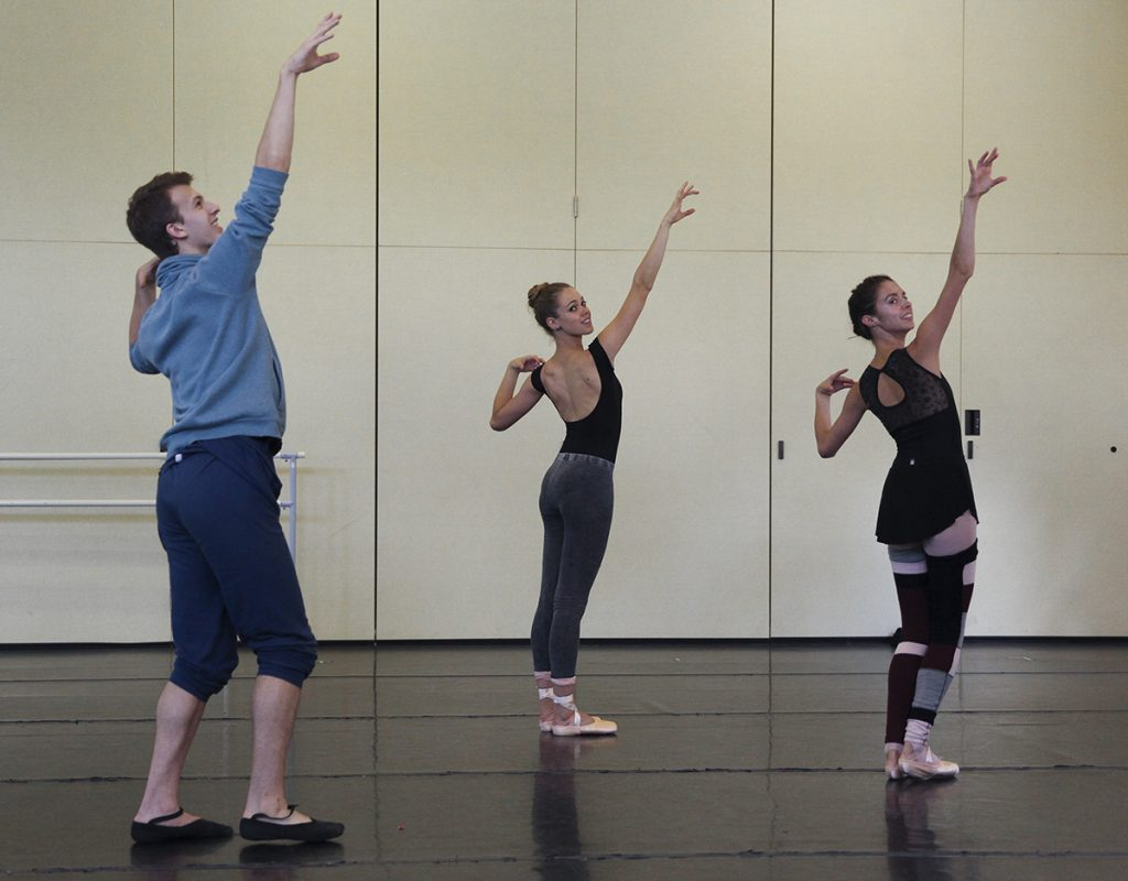 "Apprentice Dancer Michael Menghini, left, rehearses his piece ""Happenstance"" with apprentice dancer Cara Hansvick, middle, and festival dancer Chiara Valle, right, for the Choreography Workshop at 1:30 P.M. on Saturday, August 6, 2016, in the Carnahan-Jackson Dance Studios. His piece, along with the works of other student choreographers, will be presented at 4 P.M. on Saturday, August 13, 2016, in the Carnahan-Jackson Dance Studios. Photo by Carolyn Brown."