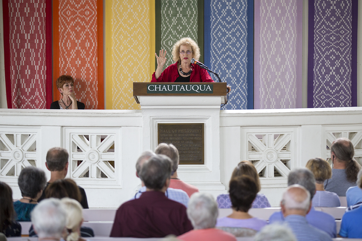 Hava Tirosh-Samuelson delivers the afternoon lecture Thursday, Aug. 11, 2016, in the Hall of Philosophy. Photo by Mike Clark