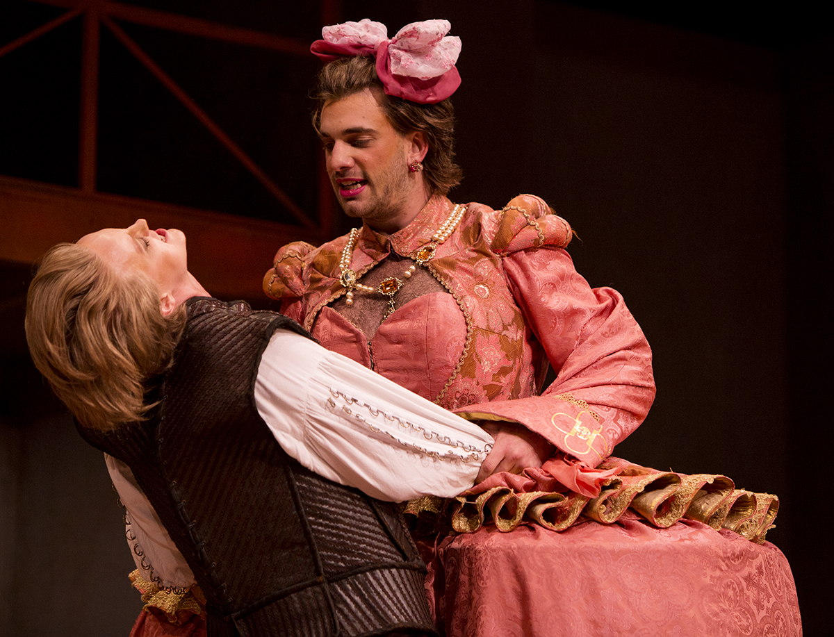 "Anna Tullis, left, as Petruchio, and Andrew Richardson, as Katherine, perform during a dress rehearsal of ""The Taming of the Shrews"" August 13, 2016 in Bratton Theater. This production by Andrew Borba adds a spin to Shakespeare's version by examining cross-dressing and gender roles. Photos By Eslah Attar"