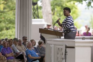 "Pamela Lightsey delivers the afternoon lecture ""Honorably Discharged to Dishonorable Conditions: Moral Injury and Black Veterans,"" on Wednesday, Aug. 17, 2016, in the Hall of Philosophy. Photo by Mike Clark"
