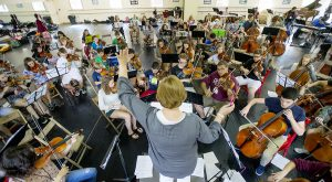 Orchestra conductor Donna Davis leads a Chautauqua Music Camp rehearsal Thursday, Aug. 18, 2016 in Carnahan-Jackson Dance Studio.