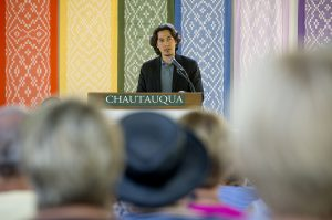"Paul K. Chappell, author of The Art of Waging Peace, delivers his lecture ""Why World Peace is Possible"" Friday, Aug. 19, 2016 in the Hall of Philosophy."