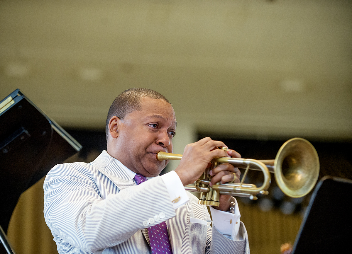 "Wynton Marsalis, artistic director of Jazz at Lincoln Center, performs on the Amphitheater stage during his lecture ""The Ballad of the American Arts"" Monday, Aug. 22, 2016."