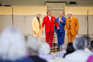 Members of Leftover Parts perform during the 2016 Chautauqua Barbershop Harmony Parade August 21, 2016 in the Amphitheater. Photo by Eslah Attar