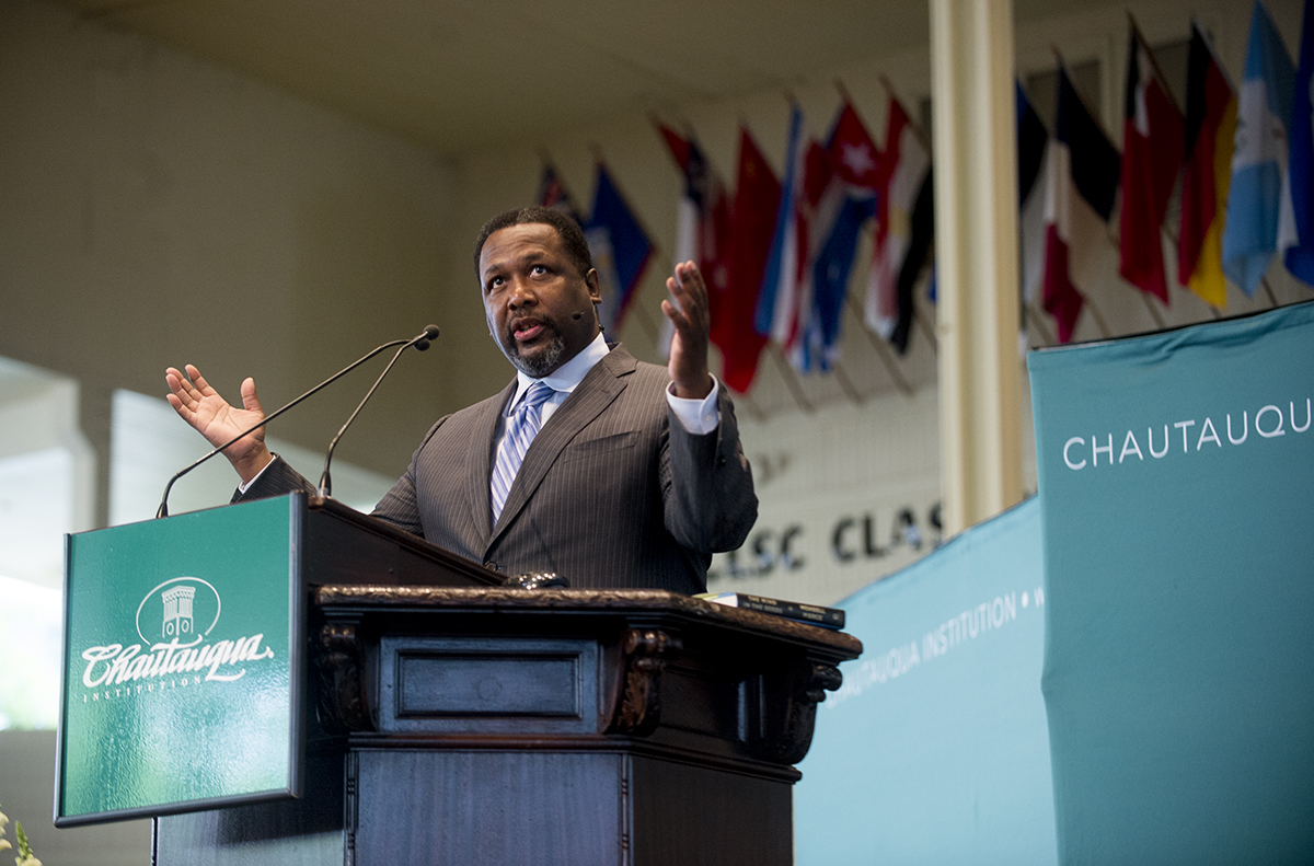 Wendell Pierce delivers his lecture on the culture of New Orleans Thursday, Aug. 25, 2016 on the Amphitheater stage.