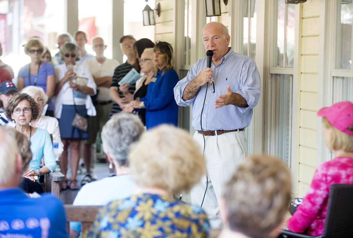 Tom Becker outlines the confirmed programming for the 2017 season during a Board of Trustees porch chat Aug. 25, 2016 on the Hultquist Center porch.