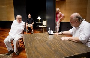 From left, Gary McEnery Mark Russell, Gwen Tigner, and David Tabish will perform in the One-Act play The Reporter directed by Bob McClure 1 p.m. August 27, 2016 in Fletcher Hall. Photo by Eslah Attar