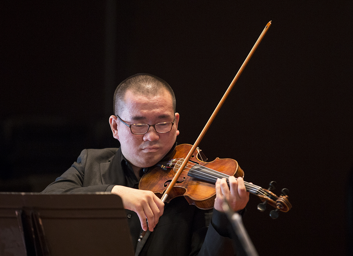 "Stealth Ng plays ""Sonata for Two Violins Op. 56"" during the MSFO Recital on Wednesday, Aug. 3, 2016, in McKnight Hall."