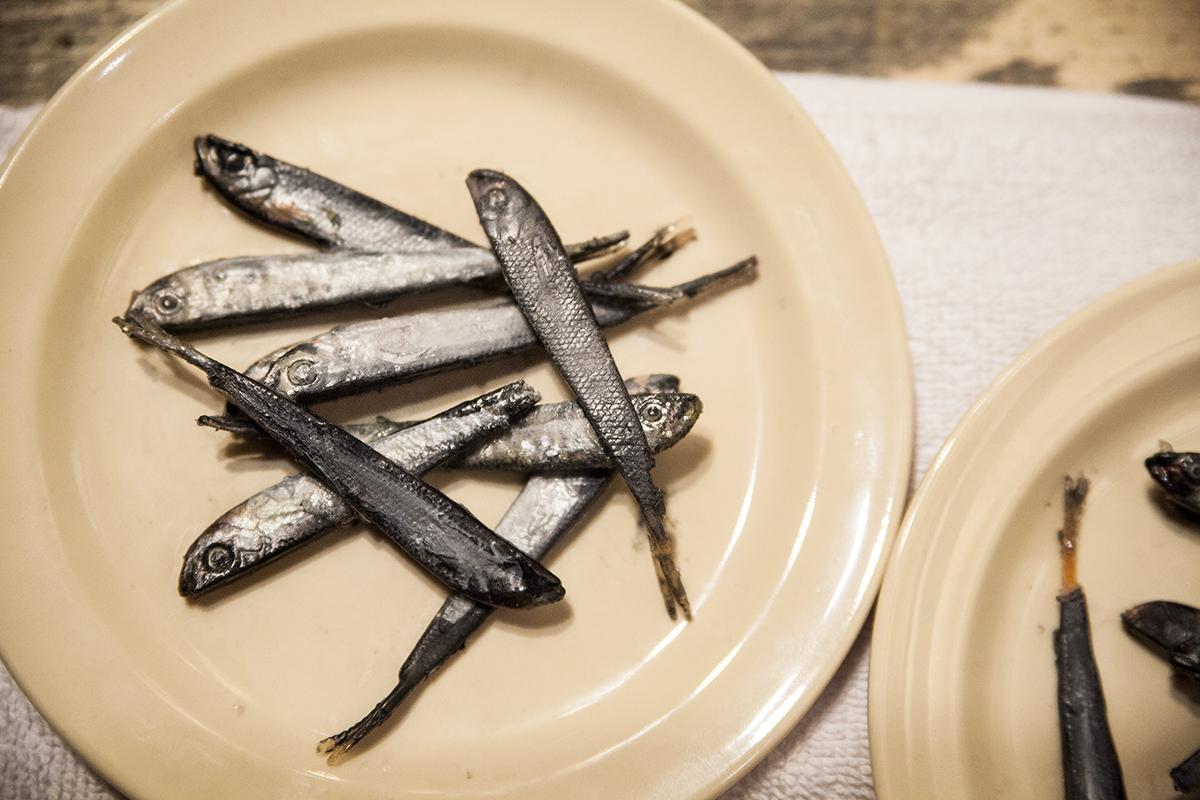 ctc props shop paints 90 sardines for noises off the chautauquan
